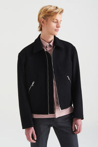 Men In Silhouette Wool-Blend Zip Up Jacket