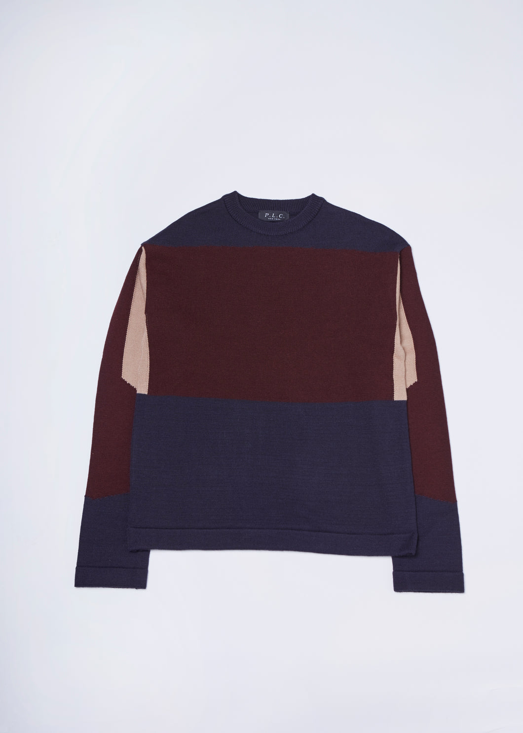 Men In Silhouette Wool-Blend Color Block Pullover