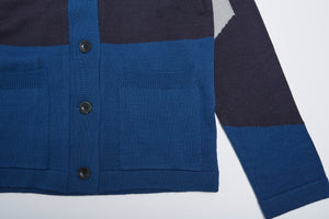 Men In Silhouette Wool-Blend Color Block Cardigan