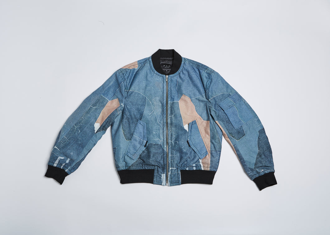 Men In Silhouette MA-1 Bomber Print Jacket