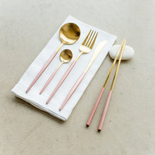 Load image into Gallery viewer, FLATWARE // GOLD WITH PINK DIP