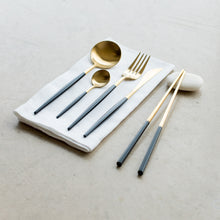 Load image into Gallery viewer, FLATWARE // GOLD WITH BLACK DIP