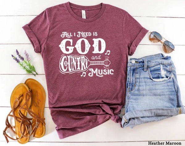 All I need is God and Country Music (white)