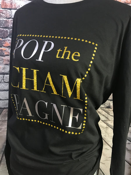 POP the CHAMPAGNE Black Long Sleeve Shirt