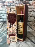 Custom wine gift box cherry color or natural wood