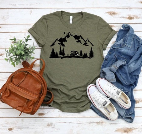Camper with Mountains
