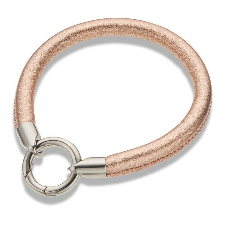 Palas | Rose Gold Leather Ring Clasp Bracelet