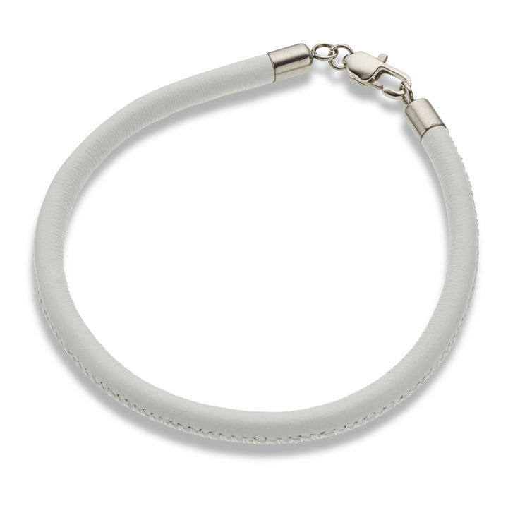 Palas | White Leather Fine Bracelet
