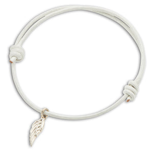 Palas | White Leather Wing Charm Bracelet