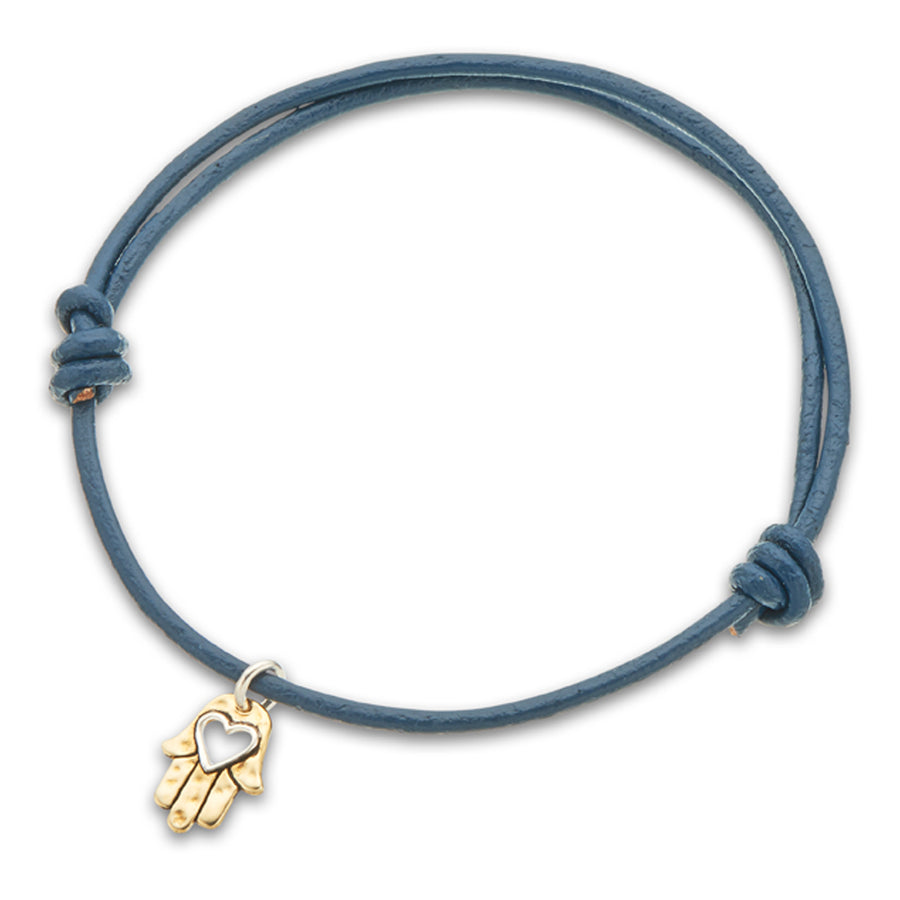 Palas | Navy Leather Hamsa Charm Bracelet