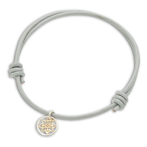 Palas | Grey Leather Mandala Charm Bracelet