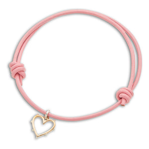 Palas | Pink Leather Heart Charm Bracelet