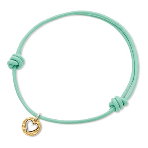 Palas | Mint Leather Heart Charm Bracelet