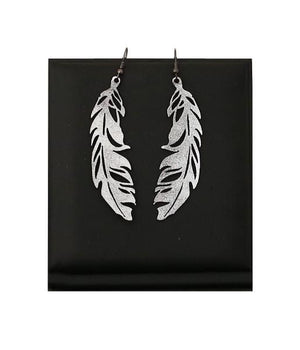 Leather Foiled | Feather Earrings