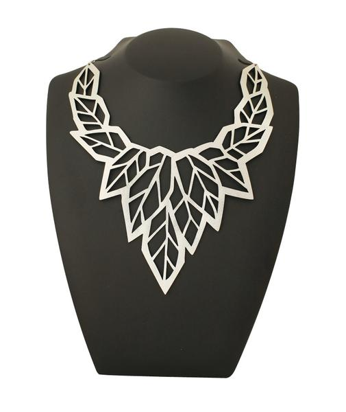Leather Foiled | Geo Leaf Necklace