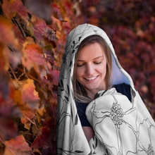 Load image into Gallery viewer, FLORAL HOODED BLANKET