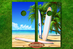 surfboards and beach cornhole board decals wraps