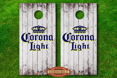 Corona Light decal wrap cornhole board