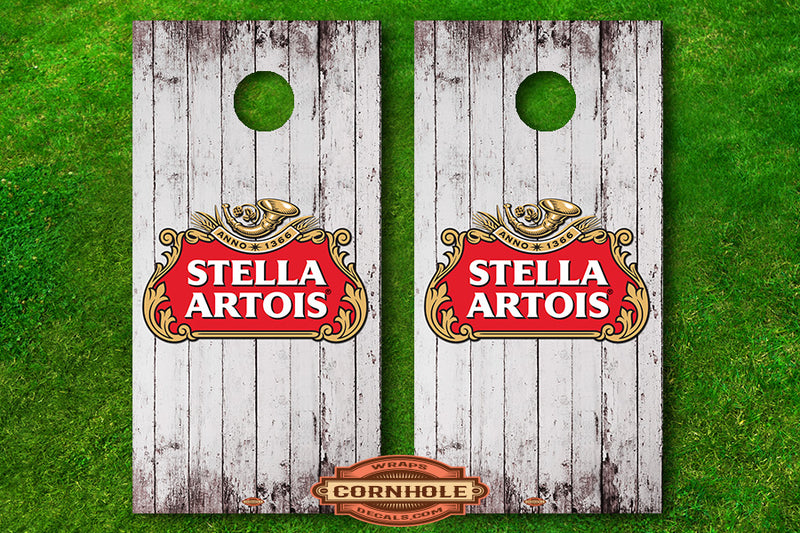 White Wooden Stella Artois Cornhole Board Wrap Decals