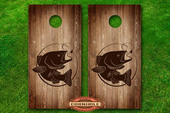 Bass Fishing Hook Cornhole Board Wrap