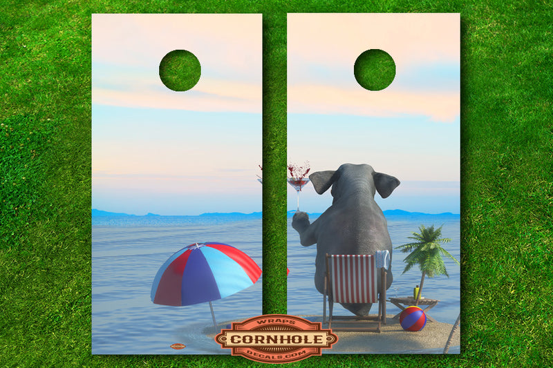 elephant-at-the-beach-cornhole-decals