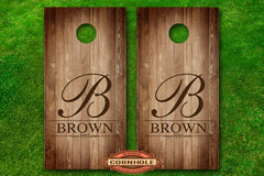 Family Last Name Monogram #4 Cornhole Board Decal
