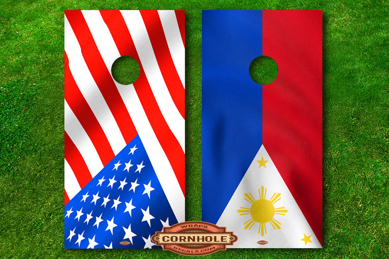 filipina american cornhole board flag decals filam