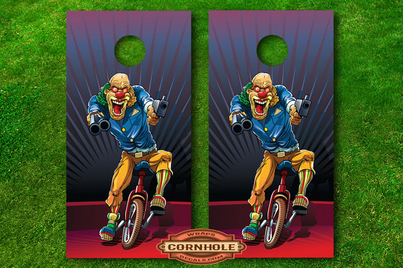 Creepy Killer Clowns Cornhole Board Decals