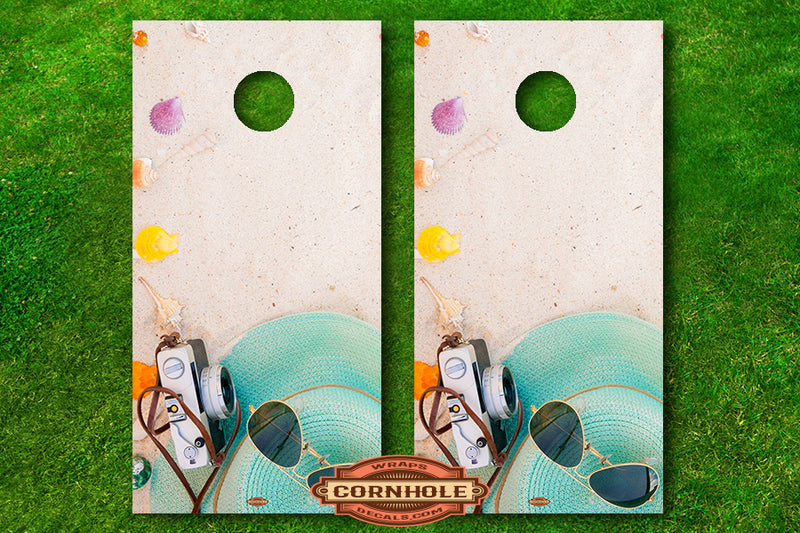 Sunglasses, Sand and Seashells Cornhole Board Decals