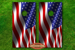 cornhole decal waving american flag