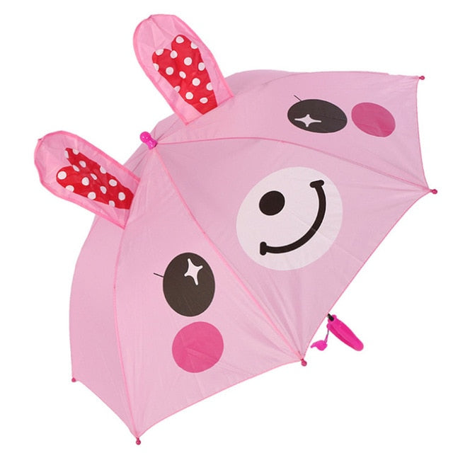 😍Cute Cartoon Children Umbrella Animation Creative Long-handled