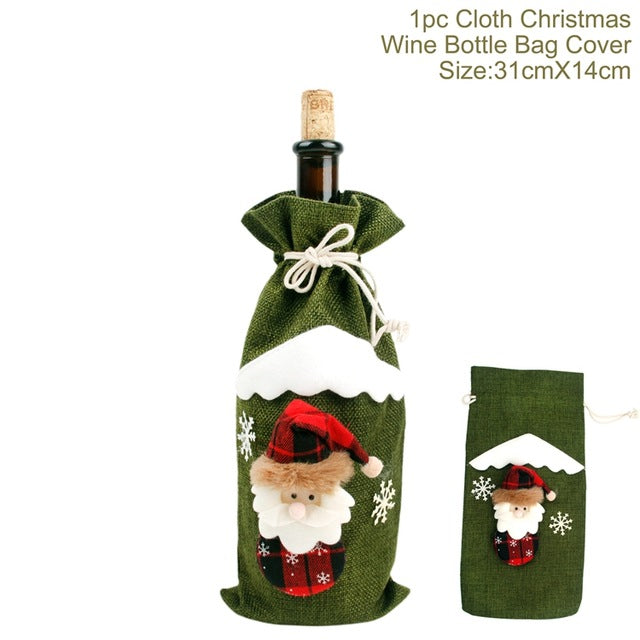🔥🔥🔥Christmas Decorations for Home Santa Claus Wine Bottle Cover - Stocking Gift Bottle Holders - Xmas Navidad Decor
