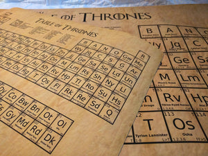 Table of Thrones - Game of Thrones periodic table wall poster (2 sizes)
