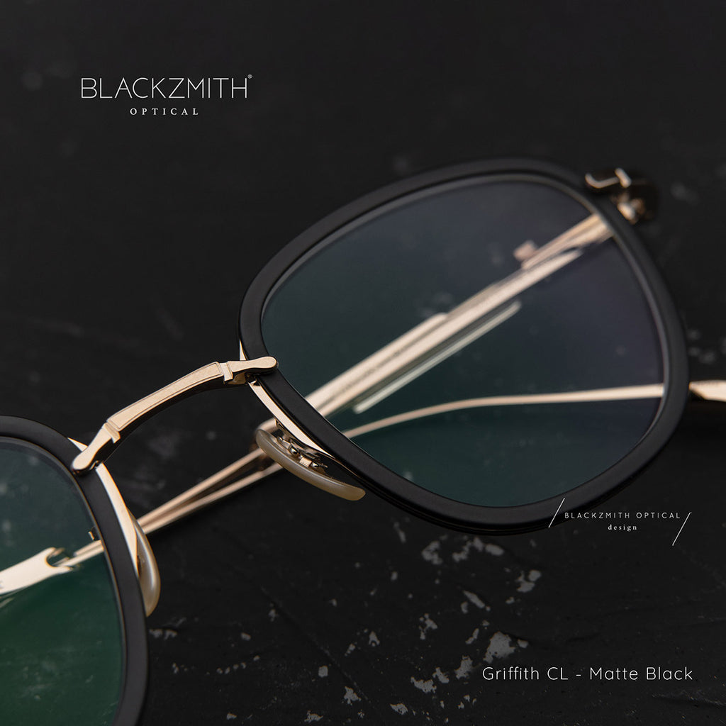 Mr. Leight - Griffith CL 46 Matte Black-Alta-12K White Gold