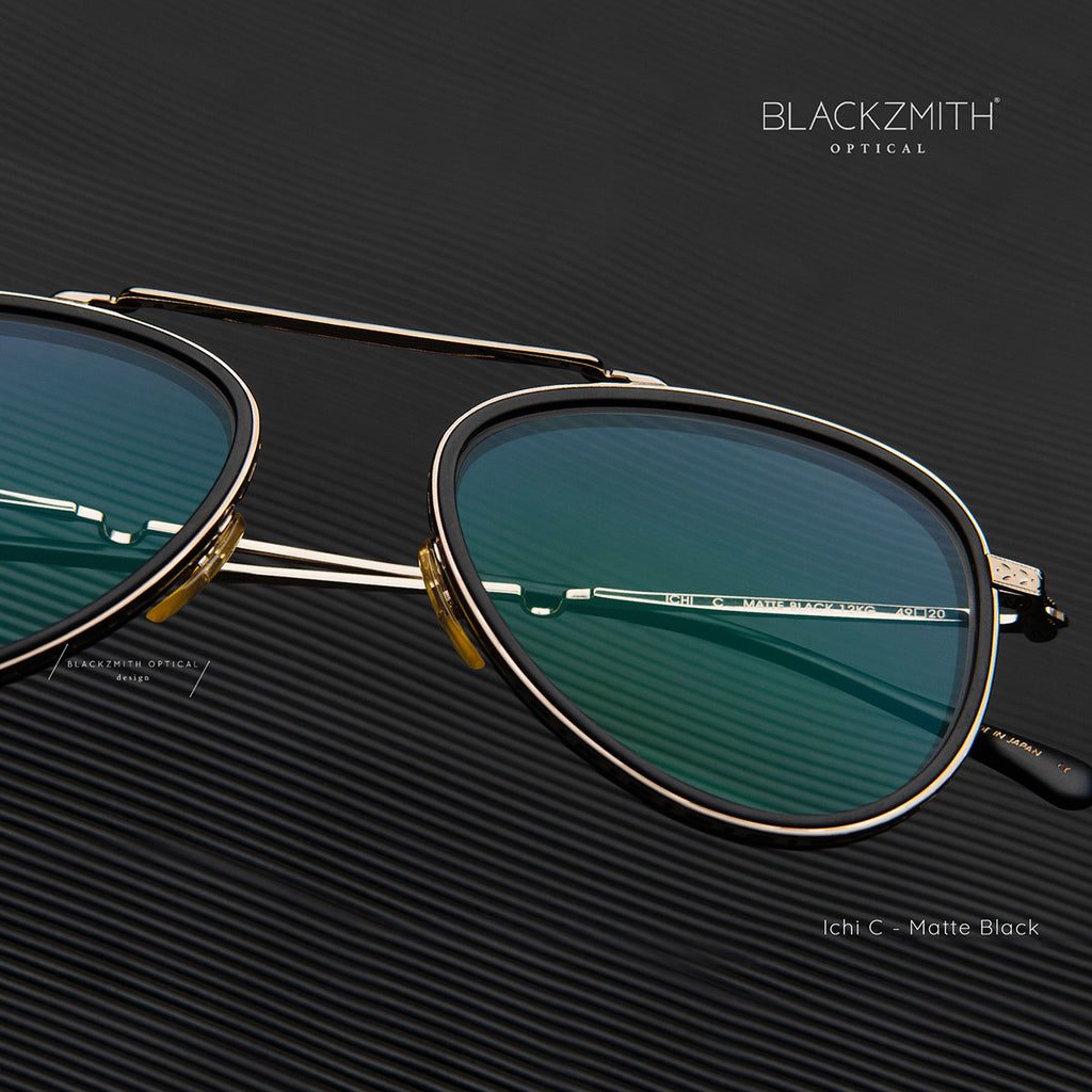 Mr. Leight - Ichi C 49 Matte Black-12K White Gold