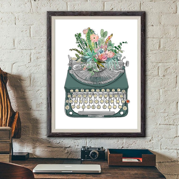 Vintage Typewriter Watercolor Art Print / Wall Decor