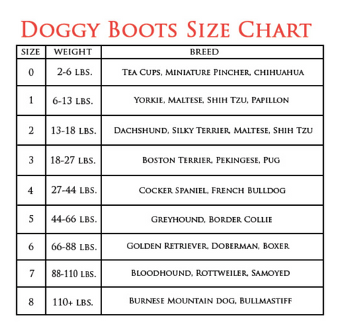 Chloe Cole Pet Couture Dog Boot Size Chart Stylin Boots