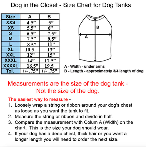 Dog In The Closet Tank Size Chart | Chloe Cole Pet Couture