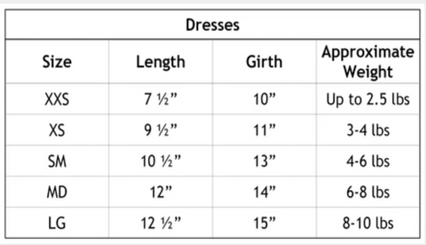 Chloe Cole Pet Couture Dog Dress Size Chart