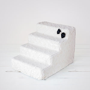 4 Step Luxury Pet Stairs - Ivory