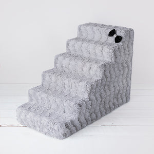 6 Step Luxury Pet Stairs - Silver