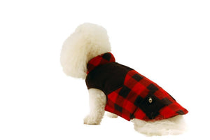 Fleece Coat with Pockets-Black & Red Plaid