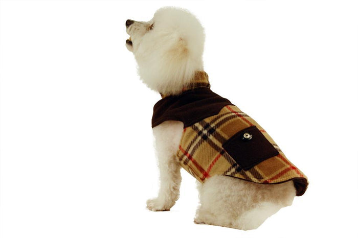 Fleece Coat with Pockets-Black and Camel Plaid