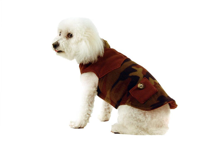 Fleece Coat with Pockets-Camo & Brown Plaid