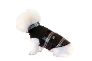 Fleece Coat with Pockets-Green Plaid