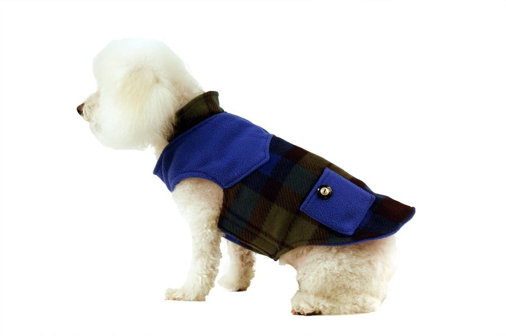 Fleece Coat with Pockets-Royal Green Plaid