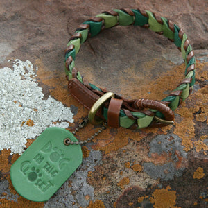 Shades of Green Leather Dog Leash