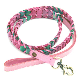 Multicolor Pink Leather Dog Leash