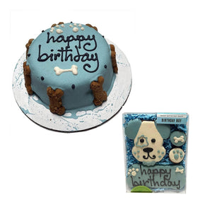 Blue Birthday Baby Cake with a Birthday Party Box