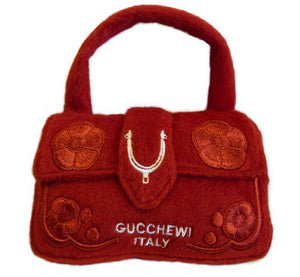 Gucchewi Red Floral Purse Dog Toy